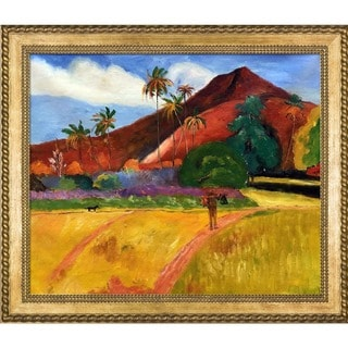Paul Gauguin 'Tahitian Mountains, 1893' Hand Painted Framed Oil Reproduction on Canvas