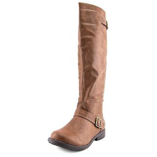 Vybe Women's 'Moto' Brown Faux Leather Low-heel Knee-high Riding Boots