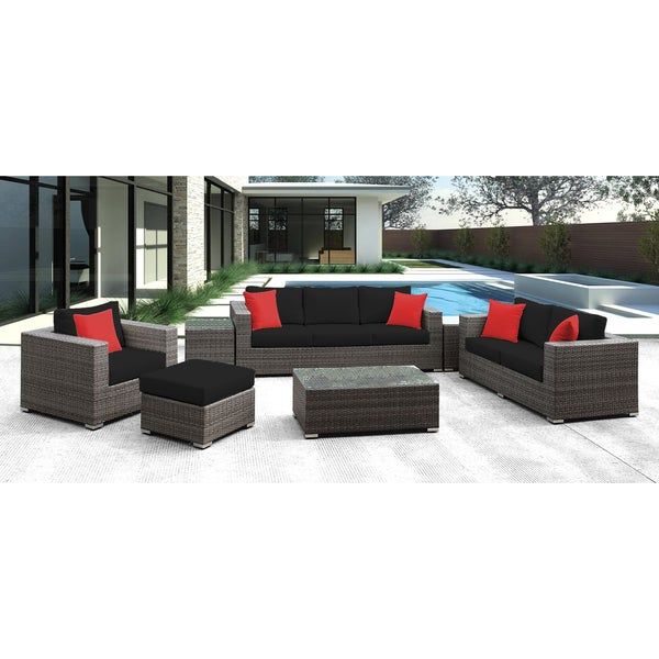 Solis Lusso 7-piece Outdoor Sofa Grey Rattan with Black Cushions and Red Toss Pillows. Opens flyout.