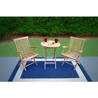 Tortuga Outdoor's Jakarta Teak 3-Piece Folding Bistro Set