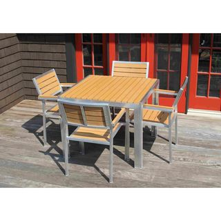 5 Piece WinstonDining Set - Outdoor All Weather Powder Coated Aluminum Patio Garden Natural
