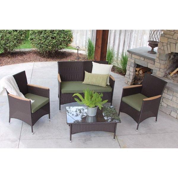 Modern Outdoor Brown Rattan Wicker Table 4 piece Patio Set