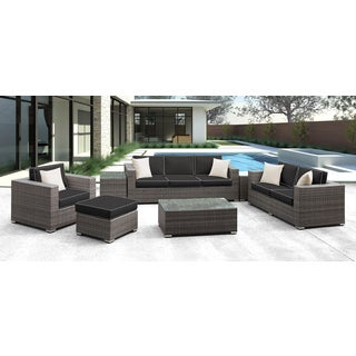 Solis Lusso 7-piece Outdoor Sofa Grey Rattan with Black with Cream welting and Cream Toss Pillows