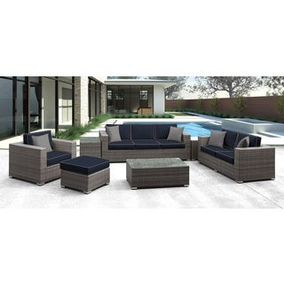 Solis Lusso 7-piece Outdoor Sofa Grey Rattan with Navy with Grey welting and Grey Toss Pillows