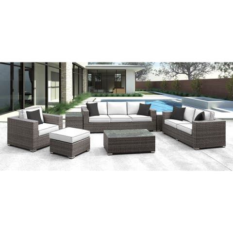 Solis Lusso 7-piece Outdoor Sofa Grey Rattan with White Cushions with Black Welting and Black Toss Pillows