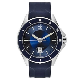 Calvin Klein Blue/Silver Rubber/Stainless Steel Swiss Quartz Watch