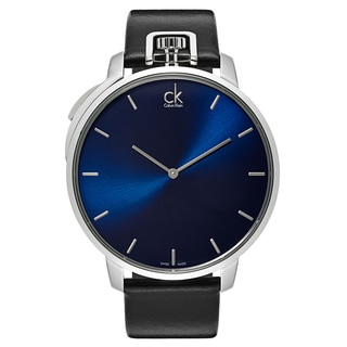 Calvin Klein Men's Exceptional K3Z211CN Blue and Black Leather and Stainless-steel Watch