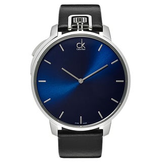 Calvin Klein Men's Exceptional Blue and Black Leather and Stainless-steel Watch