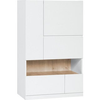 Voelkel Muto Collection White Wood Media Storage Cabinet With Serving Shelf