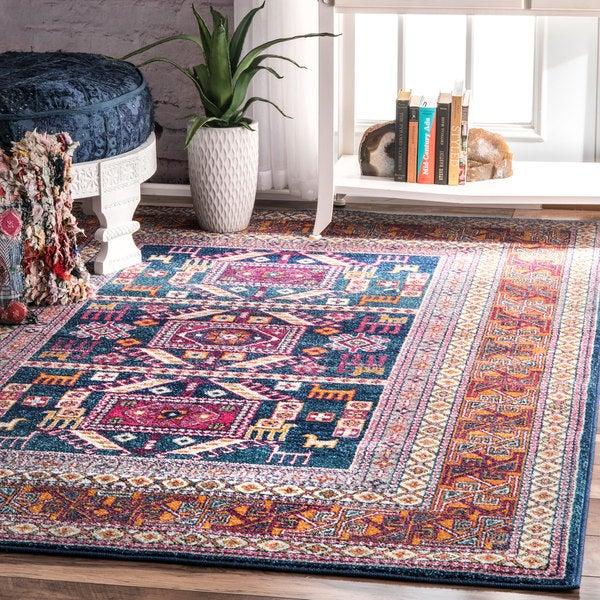shop nuloom navy southwestern bohemian tribal tale area rug 4 39 x 6 39 on sale free shipping. Black Bedroom Furniture Sets. Home Design Ideas