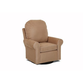 Klaussner Furniture Suffolk Tan Polyester Upholstered Gliding Rocking Chair