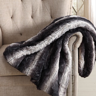 Christian Siriano 60 x 70 Oversized Black Ombre Faux Fur Filled Throw