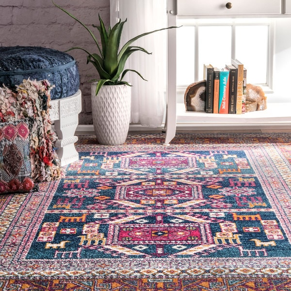 Nuloom bohemian tribal navy rug 9 39 x 12 39 free shipping for 10x14 living room design