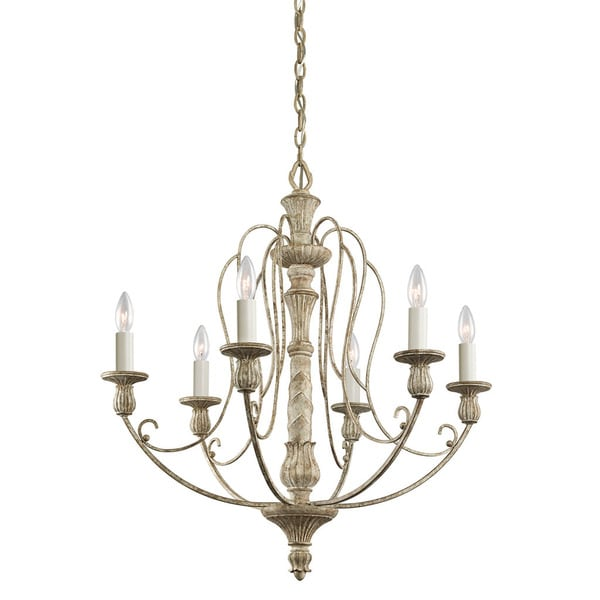 Kichler Lighting Hayman Bay Collection 6-light Distressed Antique White Chandelier