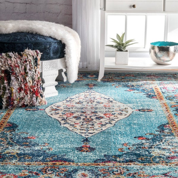 NuLOOM Traditional Distressed Medallion Aqua Rug (5'3 X 7