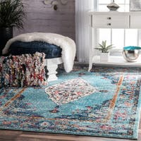 nuLOOM Traditional Distressed Medallion Aqua Rug (7'10 x 11') - 7' 10 x 11'