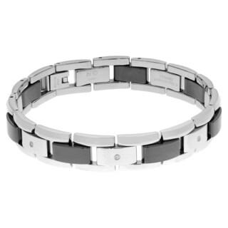 1/10 ct. TDW Diamond Stainless Steel and Ceramic Bracelet