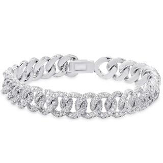 Samantha Stone Silver Overlay Cubic Zirconia Link Design Bracelet