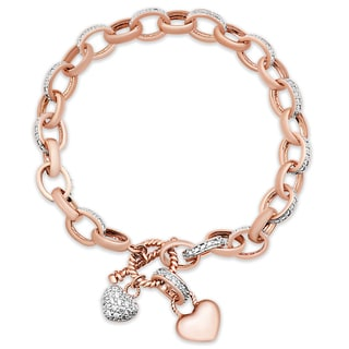 Samantha Stone Rose Gold Over Silver Cubic Zirconia Double Heart Toggle Bracelet