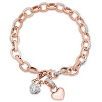 Samantha Stone Gold Over Silver Cubic Zirconia Double Heart Toggle Bracelet