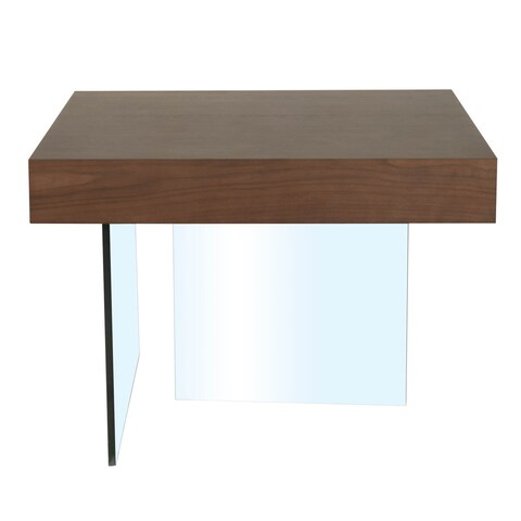 Modern Life Andrea Dark Walnut Wood and Glass End Table
