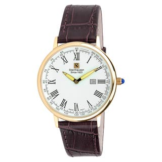 "Steinhausen Classic Men's S0118 ""Altdorf"" Swiss Quartz Rose Gold Brown Leather Band Watch