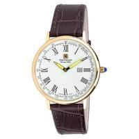 "Steinhausen Classic Men's S0118 ""Altdorf"" Swiss Quartz Rose Gold Brown Leather Band Watch"