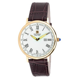 "Steinhausen Classic Men's S0118 ""Altdorf"" Swiss Quartz Rose Gold Brown Leather Band Watch"