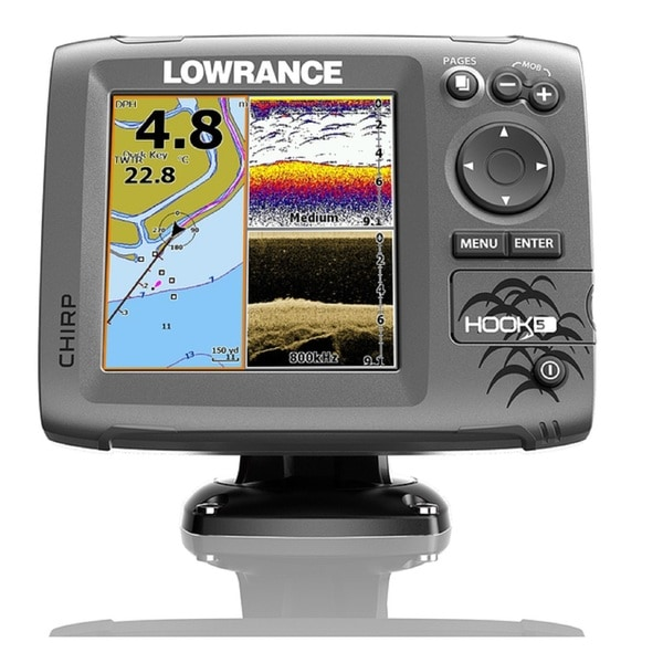 Lowrance Navico Hook 5 Mid/High DownScan Fishfinder With Card and Cover