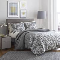 City Scene Branches Grey Cotton Duvet Cover Set King Size (As Is Item)