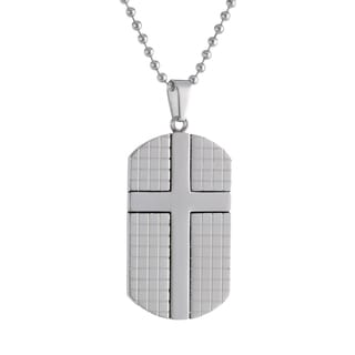 Stainless Steel Textured Dog Tag and Cross Pendant Necklace