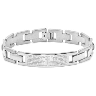 Padre Nuestro Prayer Men's Stainless Steel Link ID Bracelet