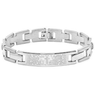 Padre Nuestro Prayer Men's Stainless Steel Link ID Bracelet