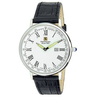 "Steinhausen Classic Men's S0122 ""Altdorf"" Swiss Quartz Stainless Steel Black Leather Band Watch