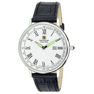 "Steinhausen Classic Men's S0122 ""Altdorf"" Swiss Quartz Stainless Steel Black Leather Band Watch"
