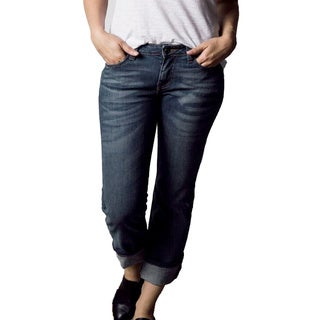 Women's Straight Leg Vintage Wash Cotton, Polyester, Elastane Denim Jeans