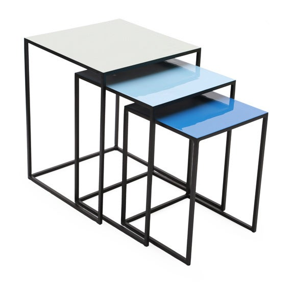 Nice Square Blue Metal Enamel Top Nesting Tables (Set Of 3)