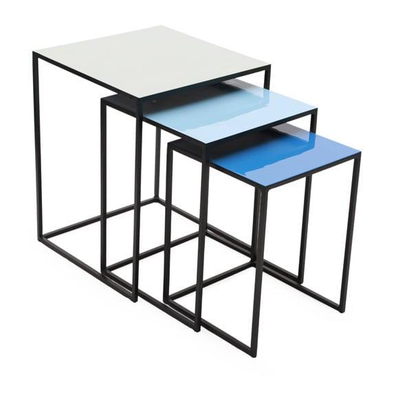 Square Blue Metal Enamel Top Nesting Tables (Set Of 3)