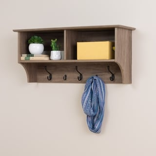 Prepac Drifted Grey Wood 36-inch Wide Floating Entryway Shelf