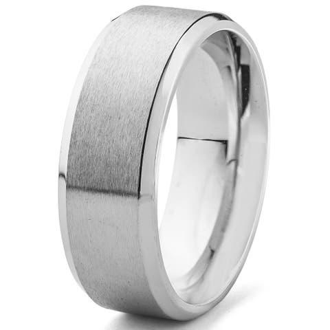 Men's Satin Stainless Steel Beveled Comfort Fit Ring - 8mm Wide
