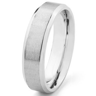 Men's Satin Stainless Steel Beveled Comfort Fit Ring - 6mm Wide