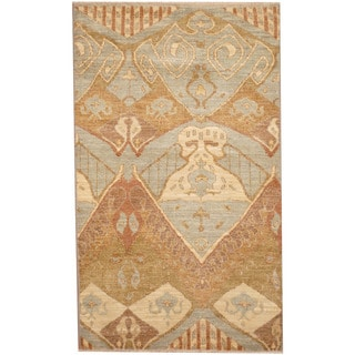 Herat Oriental Afghan Hand-knotted Ikat Wool Rug (3' x 5')