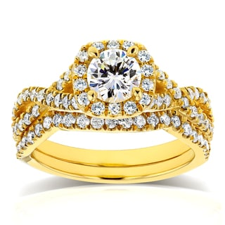 Annello by Kobelli 14k Yellow Gold 1 1/5ct TDW Diamond Crossover Halo Bridal Set