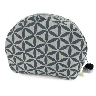 Handmade Flower of Life Cosmetic Bag in Grey/Grey - Global Groove (Thailand)