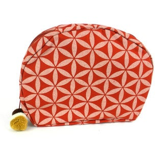 Handcrafted Flower of Life Cosmetic Bag in Terracotta/Cream - Global Groove (Thailand)