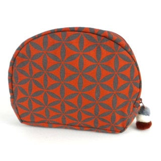 Handmade Flower of Life Cosmetic Bag in Terracotta/Grey - Global Groove (Thailand)
