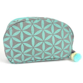 Handcrafted Small Flower of Life Makeup Bag in Grey/Aqua - Global Groove (Thailand)