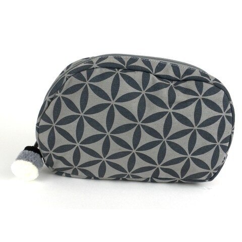 Handmade Small Flower of Life Makeup Bag in Grey/Grey - Global Groove (Thailand)