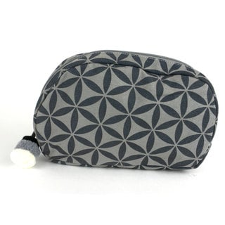Handcrafted Small Flower of Life Makeup Bag in Grey/Grey - Global Groove (Thailand)