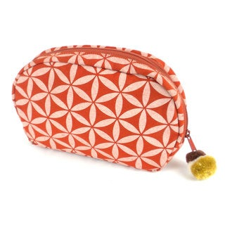 Handcrafted Small Flower of Life Makeup Bag in Terracotta/Cream - Global Groove (Thailand)